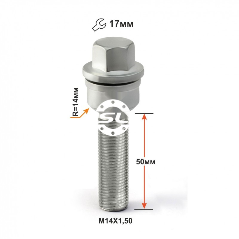 Болт колесный T184195 (1454007) M14X1,50X50 вращ.Сфера Дакромет Touareg