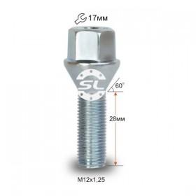 Болт колесный Starleks M12X1,25X28 Цинк ВАЗ литой диск завод ключ 17мм