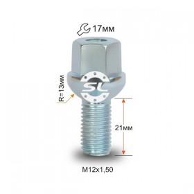 Болт колесный Starleks M12X1,50X21 Цинк Сфера с выступом, облегченный, ключ 17 мм