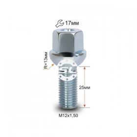 Болт колесный Starleks M12X1,50X25 Цинк Сфера с выступом, облегченный, ключ 17 мм