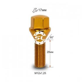 Болт колесный Starleks M12X1,25X28 Золотой Хром Конус с выступом ключ 17 мм