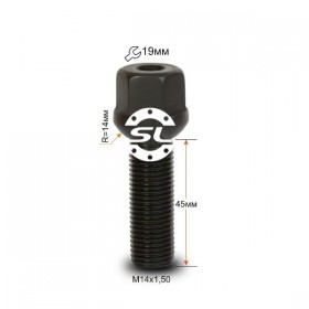 Болт колесный Starleks  М14Х1,50Х45 Черный R=14