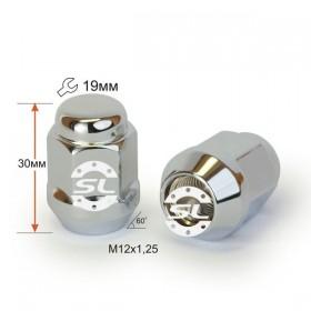 Гайка колесная Starleks M12X1,25 Хром высота 30 мм Конус с выступ., закр., ключ 19мм