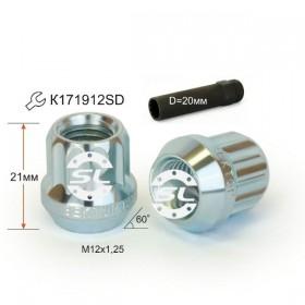 Гайка колесная Starleks M12X1,25 Цинк высота 21 мм Конус с выступ., откр., 12 луч., Dключа =20мм