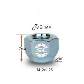 Гайка колесная Starleks M12X1,25 Хром высота 17 мм Конус, откр., ключ 21мм