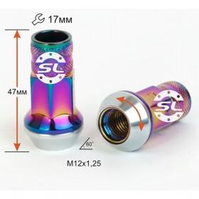 Гайка колесная Starleks M12X1,25 Радужный Титан Хром высота 47мм вращ., конус с выступом откр, ключ 17мм