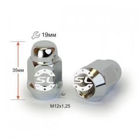 Гайка колесная Starleks M12X1,25 Хром высота 35 мм Конус с выступ., закр., ключ 19мм