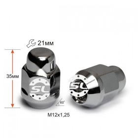 Гайка колесная Starleks M12X1,25 Хром высота 35 мм Конус с выступ., закр., кл.21мм