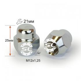 Гайка колесная Starleks M12X1,25 Хром высота 25 мм Конус, закр., ключ 21мм