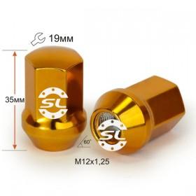 Гайка колесная Starleks M12X1,25 Золото хром высота 35 мм Конус с выступ. кл.19мм