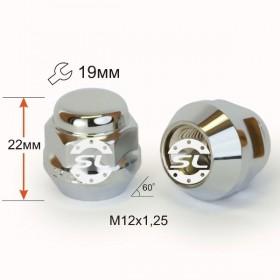 Гайка колесная Starleks M12X1,25 Хром высота 22 мм Конус с выступ., закр., ключ 19мм