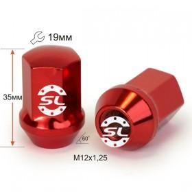 Гайка колесная Starleks M12X1,25 Красный хром высота 35 мм Конус с выступ. кл.19мм