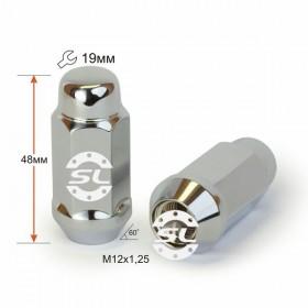 Гайка колесная Starleks M12X1,25 Хром высота 48 мм Конус с выступ., закр., ключ 19мм