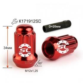 Гайка колесная Starleks M12X1,25 Красныйй Хром высота 34 мм 12 луч., закр., спец.кл.