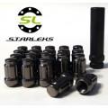 Комплект из 20 гаек для тюнинга под ключ малого диаметра Starleks D=20mm.12x1.5.L=35mm. Конус.Черные