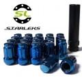 Комплект из 20 гаек для тюнинга под ключ малого диаметра Starleks D=20mm.12x1.5.L=35mm. Конус.Синие