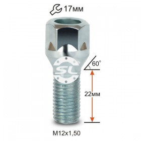 Болт колесный Starleks M12X1,50X22 Цинк Конус с выступом, облегченный, ключ 17 мм