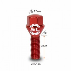 Болт колесный Starleks M12X1,25X28 Красный Хром Конус с выступом ключ 17 мм