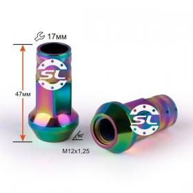 Гайка колесная Starleks M12X1,25 Радужный Титан Хром высота 47мм, конус с выступом откр, ключ 17мм