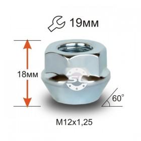 Гайка колесная Starleks M12x1,25 конус, высота 22мм, с выступом, открытая, ключ 19мм, хром