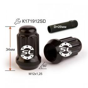 Гайка колесная Starleks M12X1,25 Черный Хром высота 34 мм 12 луч., закр., спец.кл.