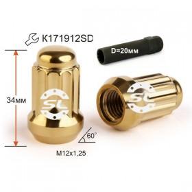 Гайка колесная Starleks M12X1,25 Золотой Хром высота 34 мм 12 луч., закр., спец.кл.
