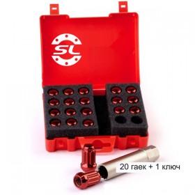 Гайка колесная Starleks M12X1,25 Красныйй Хром высота 34 мм 12 луч., закр., 20 гаек +1 спец.кл. в комплекте