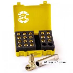 Гайка колесная Starleks M12X1,25 Золотой Хром высота 34 мм 12 луч., закр., 20 гаек +1 спец.кл. в комплекте