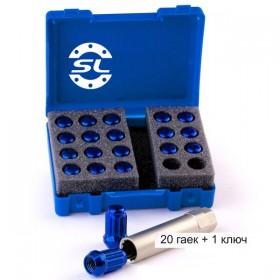 Гайка колесная Starleks M12X1,25 Синий Хром высота 34 мм 12 луч., 20 гаек +1 спец.кл. в комплекте