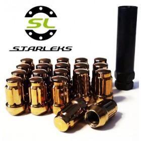 Комплект из 20 гаек для тюнинга под ключ малого диаметра Starleks D=20mm.12x1.25.L=35mm. Конус.Золото