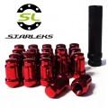 Комплект из 20 гаек для тюнинга под ключ малого диаметра Starleks D=20mm.12x1.5.L=35mm. Конус.Красные