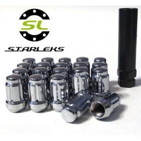 Комплект из 20 гаек для тюнинга под ключ малого диаметра Starleks D=20mm.12x1.25.L=35mm. Конус.Хром